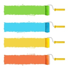 roller brushes with colors paint for text vector image vector image
