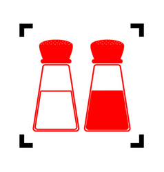 Salt and pepper sign red icon inside vector