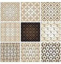 seamless vintage backgrounds set brown baroque pat vector image vector image