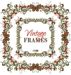 Set of bright nature frames vector
