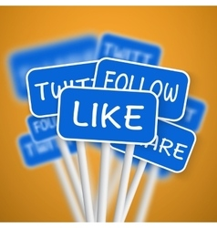 Set of Social Media Network Road Signs include vector image