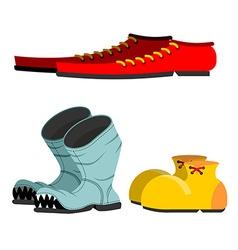 Shoes set Old broken boots Shoes for men long vector image