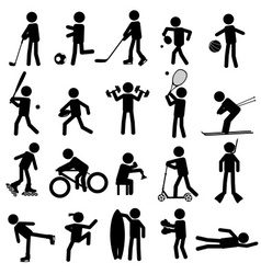 Sport silhouettes black simple icons set eps10 vector