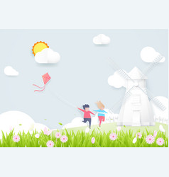 Spring season concept boy and girl playing kite vector