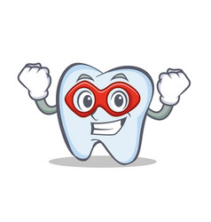 Super hero tooth character cartoon style vector