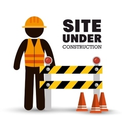 Worker warning site under construction vector