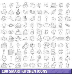 100 smart kitchen icons set outline style vector