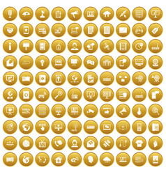 100 telecommunication icons set gold vector