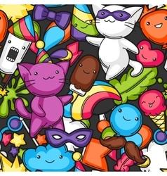 Carnival party kawaii seamless pattern cute cats vector