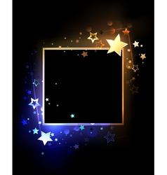 Square banner with contrasting stars vector