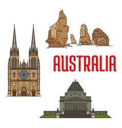 Australian buildings and landmarks icons vector