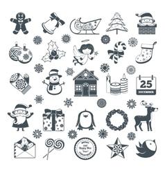 Black christmas characters set vector
