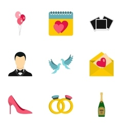 Marriage ceremony icons set flat style vector