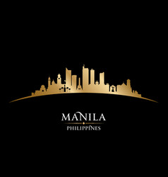 manila philippines city skyline silhouette black vector image