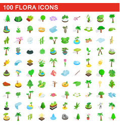 100 flora icons set isometric 3d style vector
