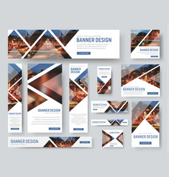 Banner templates of standard size with triangular vector