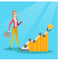 Woman looking at profit chart with robotic arm vector