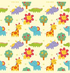 Seamless pattern wild animal vector