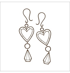 Hearts earrings isolated on white vector