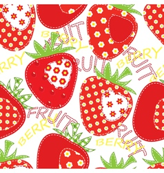 Patchwork strawberry seamless vector