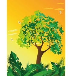 Evening landscape with tree vector