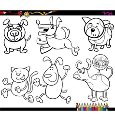 Dogs set cartoon coloring page vector