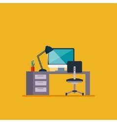 Workplace in room flat minimalistic style vector