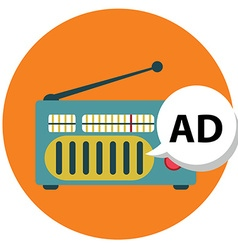 Radio icon with ad sign radio marketing vector