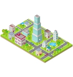 Isometric icon of city flat design vector