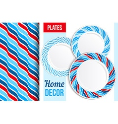 Pattern and set of decorative plates vector