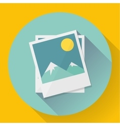 Flat landscape photo icon vector