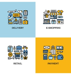 Icons set of delivery e-shopping retail payment vector