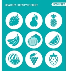 Set of round icons white healthy lifestyle fruit vector