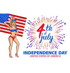 a girl celebrating independence day poster vector image