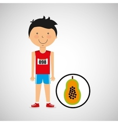 Cartoon boy athlete with papaya half vector