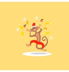 Christmas monkey with confetti fruit vector