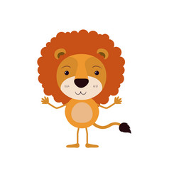 Colorful caricature of cute lion surprised vector