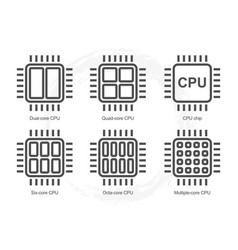 computer processor icon set vector image vector image