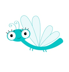 Cute cartoon dragonfly character insect isolated vector