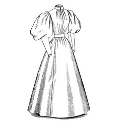Dress is a round collar long dress vintage vector