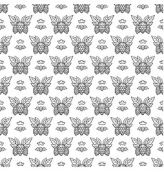 hand drawn hops with leaves seamless pattern vector image vector image
