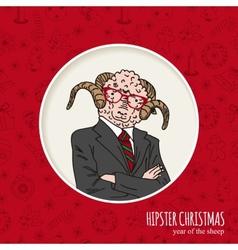 Hand drawn sheep man hipster christmas greeting vector