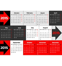 Infographic calendar 2015 with arrows vector image