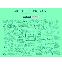 Mobile technology concept with Doodle design style vector image vector image