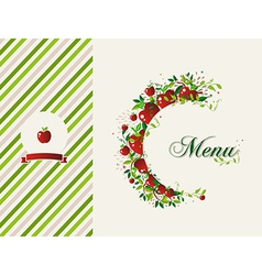 Red apples restaurant menu background vector image