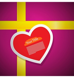 Red Heart on Pink Gift Box Cover with Yellow vector image vector image