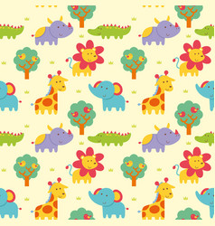 seamless pattern wild animal vector image vector image