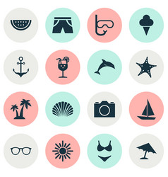 Season icons set collection of tube parasol vector