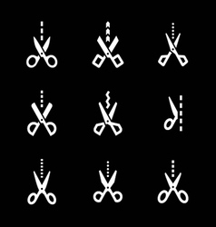 Set icons of scissors with cut line vector image vector image