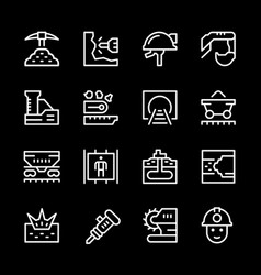 set line icons of mining vector image